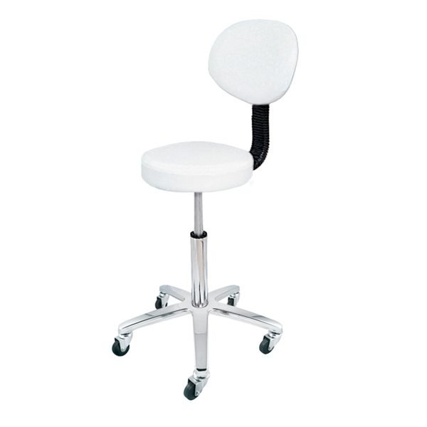 Deo White Stool With Backrest