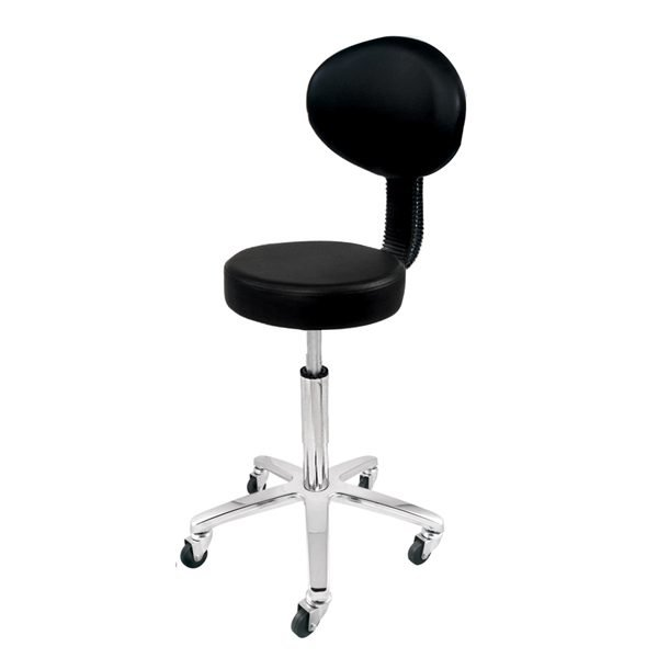 Deo Black Stool With Backrest
